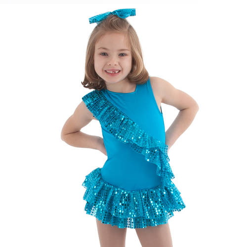Youth Turquoise Gumdrop Ruffled Leotard : 1080GC