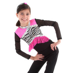 Girls Zebra Fringe Leotard