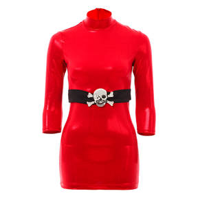 Mock Neck Top w/ Skull Belt