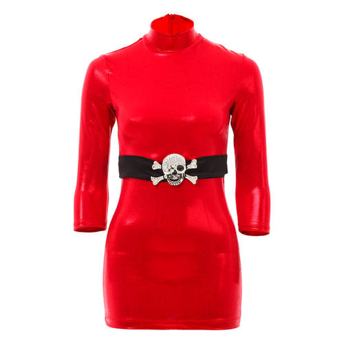 Mock Neck Top w/ Skull Belt : 1455