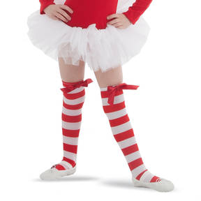 Red/White Striped Over Knee Socks