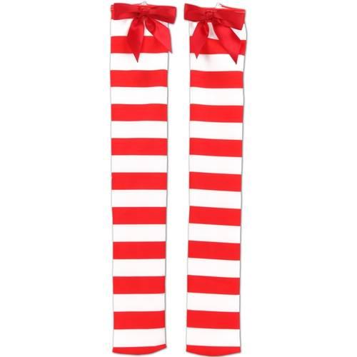 Red/White Striped Over Knee Socks : 55