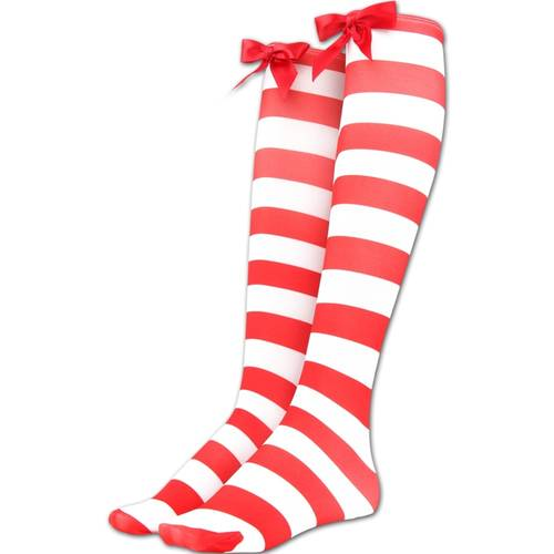 Red/White Striped Over Knee Socks : 55