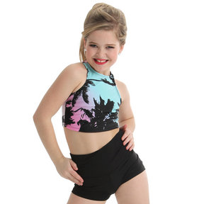 Youth Racer Crop Top -Tropical