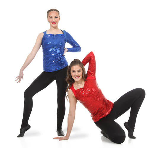 Asymmetrical Long Sleeve Sequin Top : AC2100