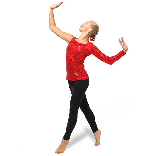 Youth Asymmetrical Long Sleeve Sequin Top : AC2100C
