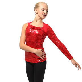 Asymmetrical Long Sleeve Sequin Top