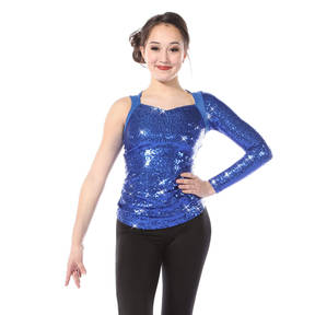 Youth Asymmetrical Long Sleeve Sequin Top