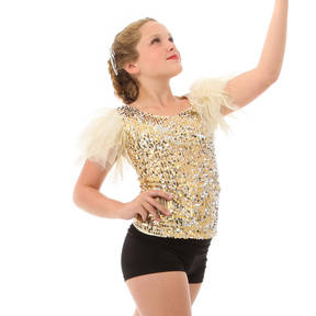 Alexandra Kids Puff Sleeve Sequin Top