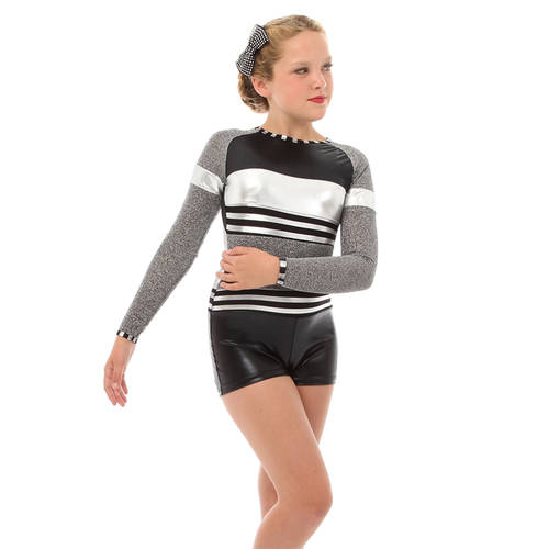 Youth Long Sleeve Shimmer Biketard: AC4052C