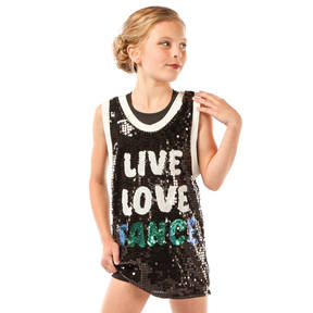 Girls Sequin Dance Basketball Jersey