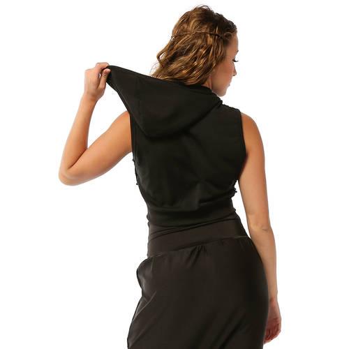 Black Sequin Crop Hoodie : AC4056