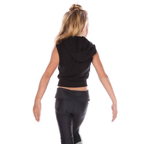 Girls Black Sequin Crop Hoodie : AC4056C