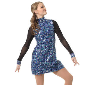 Mesh Long Sleeve Sequin Tunic Dress