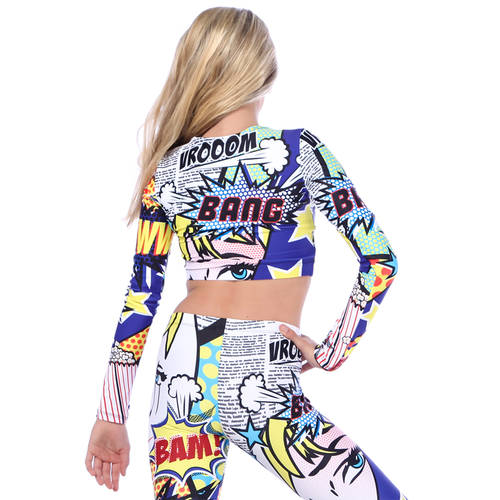 Long Sleeve Pop Art Crop Top : AC5138