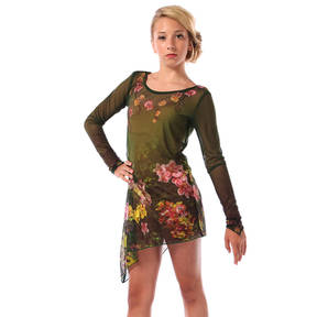 Garden of Eden Long Sleeve Mesh Dress