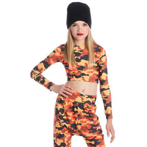 Orange Camo Long Sleeve Crop Top