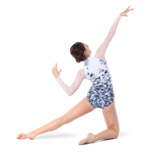 Youth Watercolor Floral Mesh Leotard : AC5318C