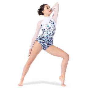 Youth Watercolor Floral Mesh Leotard