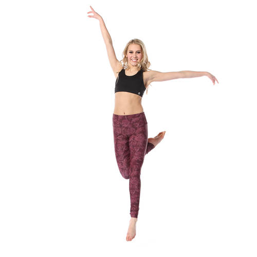 Linear Floral Mid Rise Leggings : AC5326