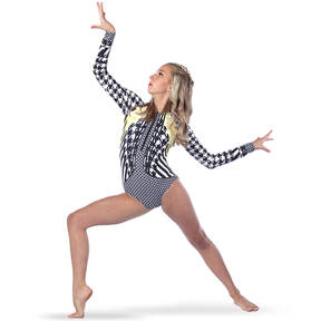 Houndstooth Zipper Front Long Sleeve Leotard