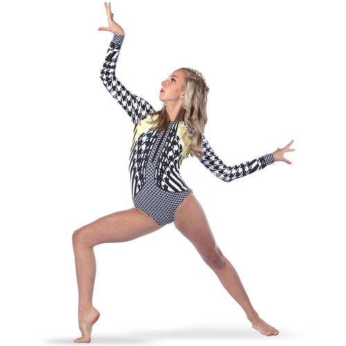 Houndstooth Zipper Front Long Sleeve Leotard : AC5389