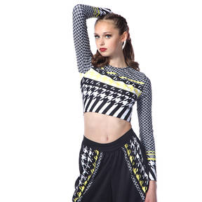 Houndstooth Long Sleeve Crop Top