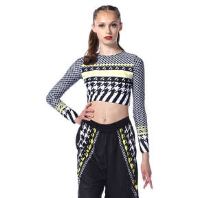 Youth Houndstooth Long Sleeve Crop Top