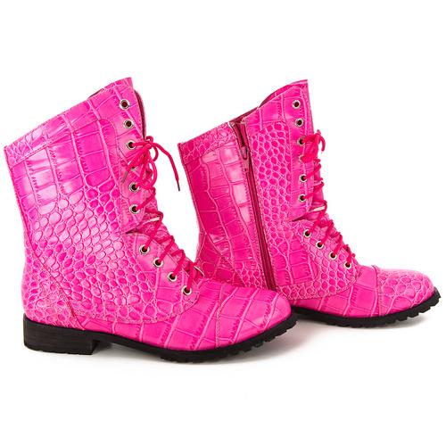Alexandra Pink Gator Combat Boot : AC6