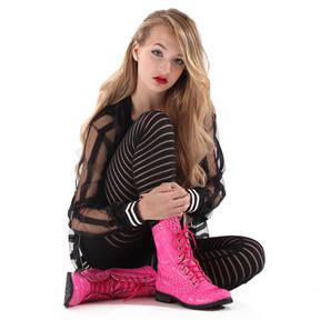 Alexandra Pink Gator Combat Boot
