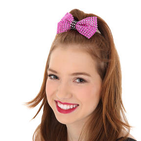 Rhinestone Bow with Contrast Trim