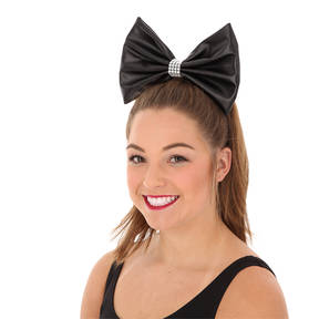 Large Leatherette Bow with Contrast Trim