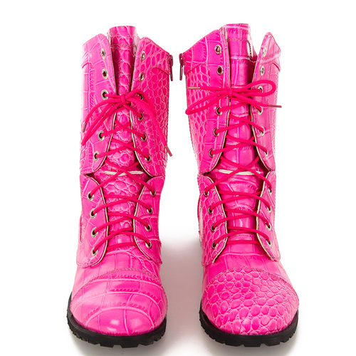 Alexandra Youth Pink Gator Combat Boot : AC6C