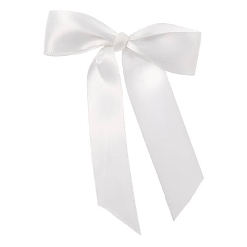 White Satin Bow Barrette : H0150