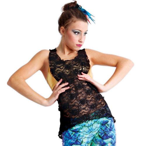 Alexandra Hi-Low Lace Cut it Out Top : M300