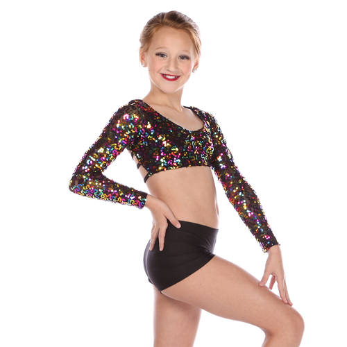 Girls Long Sleeve Sequin Top : M603C