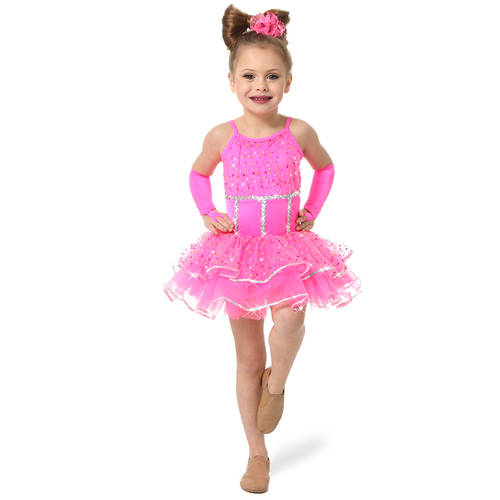 Youth Pink Parade Glittered Sequin Skirted Leotard : S034C