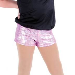 Girls Pink Holographic Shorts