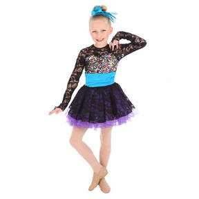Girls Lace Long Sleeve Skirted Youth Dance Leotard