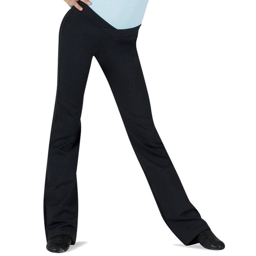 Bloch Girl/'s Black V-Front Bootleg Jazz Pants