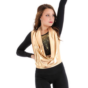 Body Wrappers Metallic Drapey Pullover