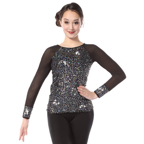 Youth Iridescent Sequin Long Sleeve Top : 7352C