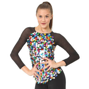 Rainbow Sequin Long Sleeve Top