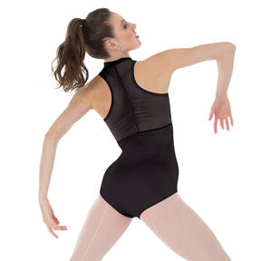 Power Mesh Zip Front Leotard