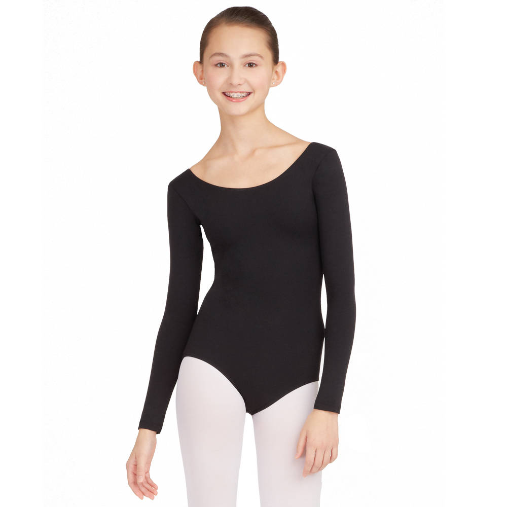 5X Black Body Wrappers Plus Long Sleeve Leotard
