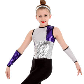 Zoe Sleeveless Sequin Biketard and Gauntlets