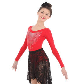 Red Sequin Long Sleeve Leotard