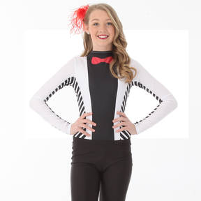 Suit and Tie Long Sleeve Leotard
