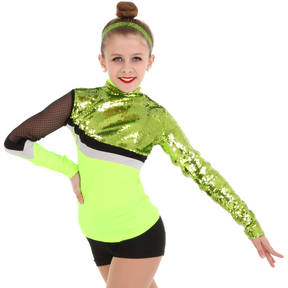 Alexandra Collection Lime Green Sequin Swoosh Top