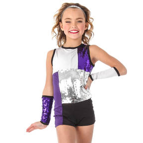 Youth Zoe Sleeveless Sequin Biketard and Gauntlets